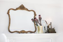 All mantel accessories provided by Garden Style Living and design by LeanneFordInteriors.com as seen on ABC television