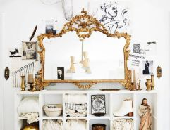 Domino Magazine / Mirror, cubby, Jesus chalkware, and other accessories : Garden Style Living / Design : Leanne Ford Interiors