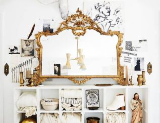 Mirror, cubby, Jesus chalkware, and other accessories : Garden Style Living / Design : Leanne Ford Interiors
