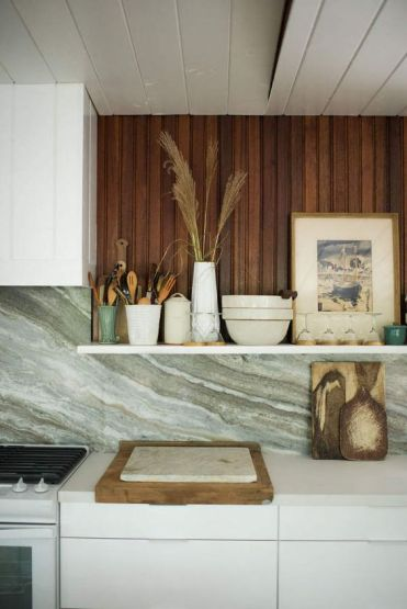 HGTV Restored by the Fords / Antique bread board and marble slab : Garden Style Living / Design : Leanne Ford Interiors / Photo : Alexandra Ribar
