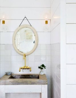 Domino Magazine / Mirror and soap dish : Garden Style Living / Design : Leanne Ford Interiors / Photo : Nichole Franzen