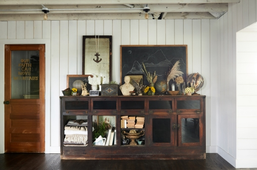 Antique Mirror, Bust, Vintage Gold Urn and Antique Book from: Garden Style Living / Pictured from: HGTV's Restored by the Fords / Design: Leanne Ford Interiors / Photo: Alexandra Rhibar