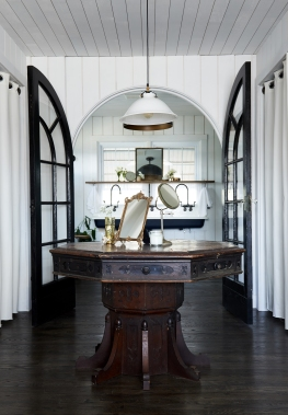 Antique Table, Vanity Mirror from: Garden Style Living / Pictured from: HGTV's Restored by the Fords / Design: Leanne Ford Interiors / Photo: Alexandra Rhibar