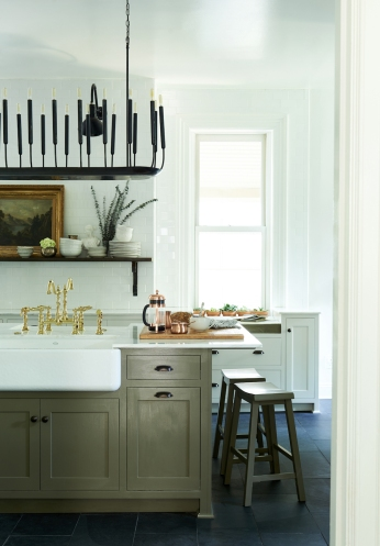 Antique bread board, aged terra cotta, antique shelf brackets, vintage bust, round metal mid century vase from: Garden Style Living / Pictured from: HGTV's Restored by the Fords / Design: Leanne Ford Interiors / Photo: Alexandra Ribar