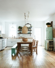 Antique teal bench and vintage mirror from: Garden Style Living / Pictured from: HGTV's Restored by the Fords / Design: Leanne Ford Interiors / Photo: Alexandra Ribar