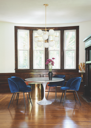 Vintage wood and gold metal vases: provided by Garden Style Living to Leanne Ford: and used here on HGTV Restored by the Fords / Photo: Alexandra Ribar